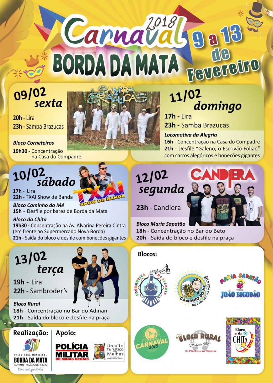 Seis blocos e shows durante cinco noites animam o Carnaval 2018 de Borda da Mata